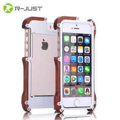 Original R-Just phone cases Shockproof Armor Aluminum Metal + 100% Real Wood Bumper For Apple iPhone 5 5S cellphone accessories