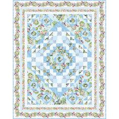 Wilmington Prints Fabrics Meadow Bloom Susan Winget Blue Garden Path Twin Size Quilt Kit Hancocks Of Paducah, Twin Quilt Size, Wilmington Prints, Blue Garden, Quilt Kits, Quilt Top, Garden Paths, Quilt Patterns, Free Pattern