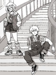 """uraraka and bakugo in retro fashion and stairs"" Bakugou And Uraraka, I Want To Cry, Manga, Goblin, Boku No Hero Academia, Akira, Retro Fashion, Princess Zelda, Fan Art"
