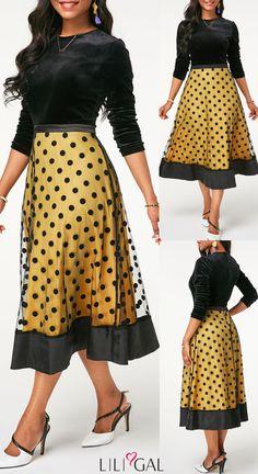 b410acb1eae8b USD30.16 Long Sleeve Zipper Back Dot Print Dress  liligal  dresses Short  Frocks