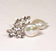 Ivory Pearl and Bouquet Silver Post Earrings by JacarandaDesigns, $35.00