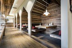 Pitched arch, booths. Hospitality design - Bar/ Restaurant. Sansibar, Dusseldorf