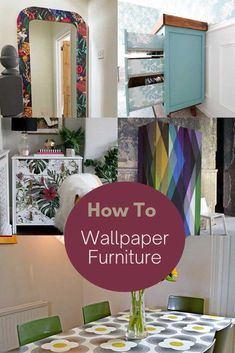 Step by step instructions on how to tranform and upcycle furniture with wallpaper using an IKEA mirror hack as an example.  Plus lots more wallpapered furniture ideas.  #wallpaper #upcycling Wallpaper Furniture, Diy Wallpaper, Painting Furniture, Furniture Makeover, Furniture Ideas, Homemade Desk, Ikea Mirror Hack, Transforming Furniture, Upcycled Furniture