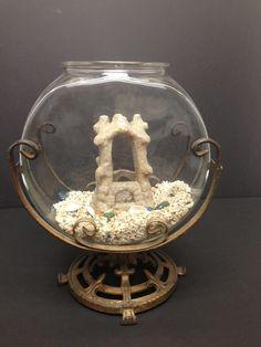 Vintage Aquarium 1920's Fish Bowl Table Top with Iron Scroll Work | eBay