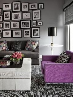 Gray Walls Purple Accent Chair And Photo Collage