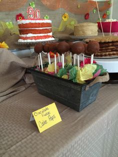 Cake pops, cake buffet, birthday party cake table, 90th birthday