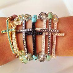 Silver and Gray Crystal Cross Bracelet. $12.00, via Etsy.