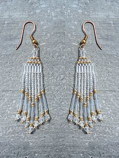 Crystal and Gold Chandelier Iridescent Beaded Earrings – Robin Harley offers FREE SHIPPING in the U.S. and Canada