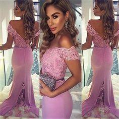 Long Custom Lace Off Shoulder V-Back Cocktail Evening Party Prom Dress Online,PD0169