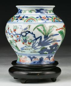 """Chinese Antique Famille Verte Porcelain Vase: of Early Qing Dynasty; Size: H: 3-5/8""""; (overall) H: 4-5/8"""""""