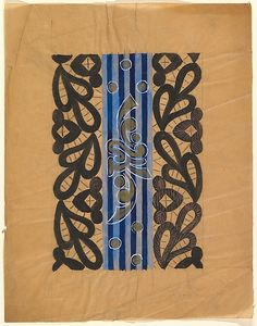 Horizontal Panel with Band of Blue Stripes Overlaid with Gold Design Combined with a Black Paisley Border  (Anonymous, French, 20th century, Art Deco)