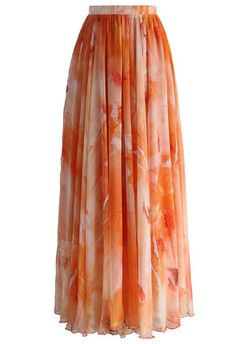 Dancing Watercolor Floral Maxi Skirt in Orange - New Arrivals - Retro, Indie and Unique Fashion