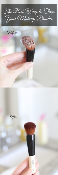 The absolute BEST way to clean your makeup brushes. Mine look brand new now and they were absolutely caked with foundation and rouge! #makeup #diy #cleaners