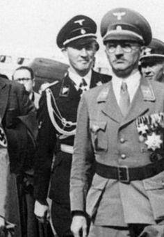 """reichsprotektor: """"Heydrich during Neville Chamberlain's arrival at Munich airport, 1938 """""""