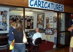 Ramsey Whittaker Caricatures in the Mountain Mall in Gatlinburg, TN. Cartoon portraits drawn while you wait.