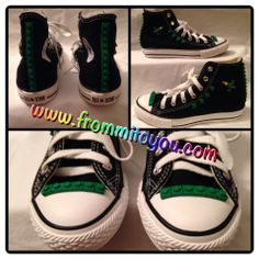 Embellished canvas shoes  #shoes  #converse #chucktaylor #lego #kids #boy #green #airplane #jet #frommitoyou