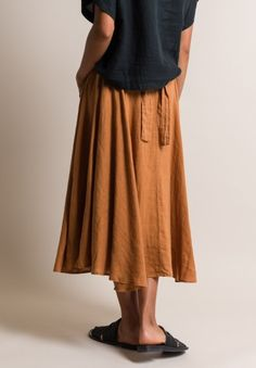 Black Crane Linen Wrap Skirt in Rust