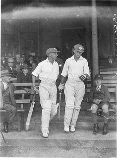 Sir Donald Bradman and Stan McCabe take the cricket field, on 18 October 1932 - Photo by Sam Hood. State Library of NSW Collection. Australia Day, Western Australia, World Cricket, Cricket Bat, Cricket Sport, Sports Pictures, Sports Stars, Newcastle, Old Photos