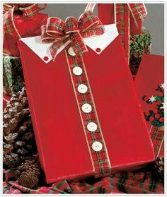Clothing inspired gift wrap idea.