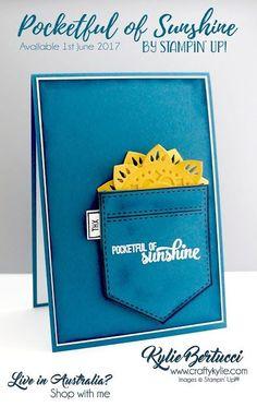 Stampin' Up! Pocketful of Sunshine, Eastern Medallions thinlits: Kylie Bertucci Independent Demonstrator Australia: Global Design Project 084 Scrapbooking, Scrapbook Cards, Pocket Full Of Sunshine, Stampinup, Stampin Up Catalog, Pocket Cards, Get Well Cards, Kids Cards, Cool Cards