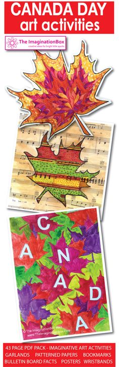 Fun imaginative engaging abstract art activity pack, full of ideas and decorations for kids to celebrate Canada Day around the world. Includes bookmarks, wristbands, posters, garlands, fact page, words for the bulletin board - Happy Canada day!