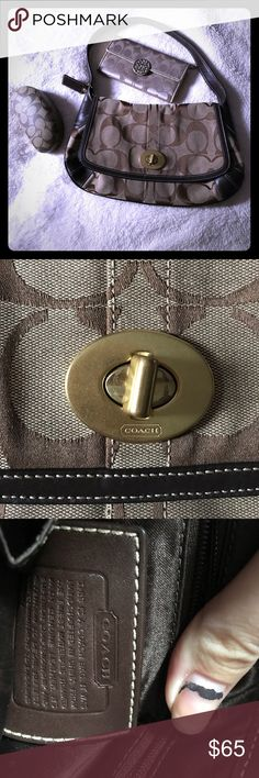 Beautiful signature mocha COACH shoulder bag 💎 No damage.. kept in prestine condition leather/ cloth gold latch shoulder bag with plenty of storage! This little bag has plenty of compartments inside front pocket for cell or 🔑, with zipper compartment and hidden flap pocket behind!! Also back has pocket as well to carry wallet, book, or glasses! No markings, tears, or stains!! Don't miss out on this beautiful bag!! Coach Bags Shoulder Bags