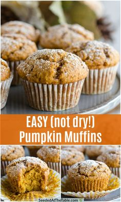 These easy pumpkin muffins are the best! Perfectly fluffy and not at all dry. These pumpkin spice muffins are an irresistible combination of sweet and spice. Frozen Pumpkin, Pumpkin Pie Mix, Pumpkin Dessert, Pumpkin Pumpkin, Vegan Pumpkin, Pumpkin Cheesecake, Best Pumpkin Muffins, Pumpkin Muffin Recipes, Pumpkin Muffins Cake Mix Recipe