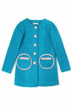 Cute Color Block Wool-blend Coat