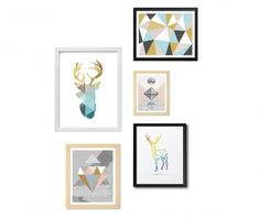 """""""Geometric"""" 5 Piece Graphic Art Set on Wood East Urban Home Painting Prints, Canvas Prints, Art Prints, Paintings, Banksy, Collage, Monochrom, Black And White Colour, Framed Wall Art"""