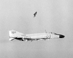 Ensign James W. Laing ejects from the rear seat of an F-4 Phantom II of Fighter Squadron (VF) 114 after the aircraft was hit by antiaircraft fire during a strike on Kep Airfield in North Vietnam on April 24, 1967, forty-eight years ago today. The pilot, Lieutenant Charles Southwick, ejected after this photograph was taken. Before bailing out of their airplane, the pair was credited with shooting down a North Vietnamese MiG-17.