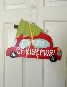 Retro Car with Christmas Tree Sign by yourethatgirldesigns, christmas decorations, christmas decor, holiday decor, holiday decorations, retro christmas