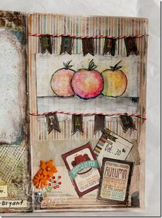 Fall apples - art journal page in altered book