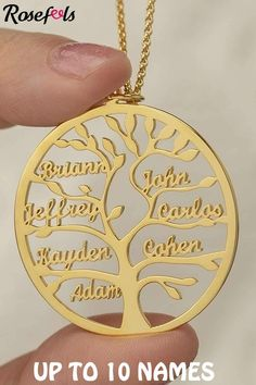 #momgifts #giftsformom #mothersday #mothersdaygift The tree is the permanent symbol of life and love extends in families.Love and connection Jewelry - The family tree necklace represents the unshaken love and connection between family, just like a tree and its growing branch.Name - This 1-10 names necklace provides the best way for you to show off your love to all your family members or friends.Perfect family jewelry - for mom and grandmother with commemorative and sentimental meaning. Gold Jewelry For Sale, Rose Gold Jewelry, Custom Jewelry, 13th Birthday, Birthday List, Cool Gifts For Women, Gifts For Mom, Laser Engraved Gifts, Family Tree Necklace