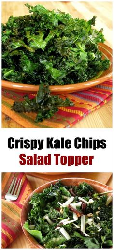 Crispy Kale Chips stand alone as a tasty snack or take a salad to the next level and use them as a crunchy salad topper! Tips for the perfect chip!