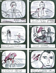 Martin Scorcese's original storyboards for the bloody end of Taxi Driver.