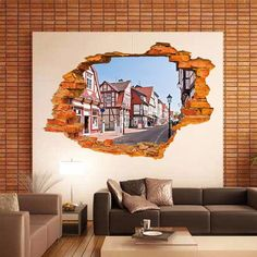 3D Broken Wall Building Window Removable Vinyl Decal Art Sticker Mural Home Decor