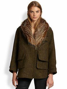 It's so cold I can only think of #Smythe - Flak Faux-Fur Trim Jacket - Saks.com