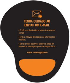 Mouse pad with tips on how to send corporate e-mails properly for an oil and gas company's campaign.