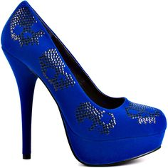 57872bf26ce1 Rock out all night in these skull patterned Iron Fist pumps! Sugar Hiccup brings  you a cobalt upper with sparkling black skulls.