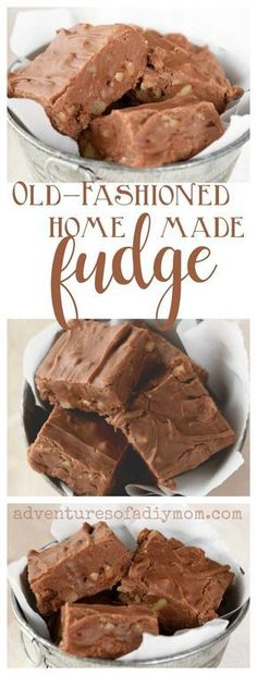 Old Fashioned Homemade Chocolate Fudge Recipe - This fudge is velvety, silky and smooth. It's rich and decadent. It's creamy with pockets of crunchy nuts. In short, this old fashioned fudge is happiness in a square. Source by duckliips - Christmas Fudge, Christmas Desserts, Christmas Baking, Christmas Candy, Christmas Goodies, Christmas Treats, Christmas Traditions, Christmas Dishes, Gluten Free Chocolate