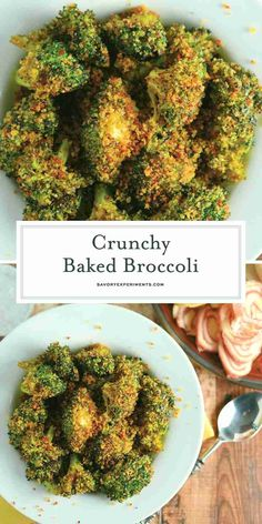 Crunchy baked broccoli tossed in a crisp, tangy mix with two secret ingredients that will make this broccoli recipe your favorite side dish! Crunchy Baked Broccoli - A Oven Baked Broccoli Recip Brocolli Side Dishes, Veggie Side Dishes, Vegetable Dishes, Food Dishes, Cooked Vegetable Recipes, Sprouts Vegetable, Low Carb Side Dishes, Healthy Side Dishes, Side Dishes Easy