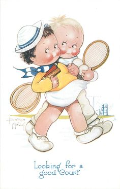 """LOOKING FOR A GOOD """"COURT"""" boy & girl walk right arm in arm carrying tennis eackets & balls"""