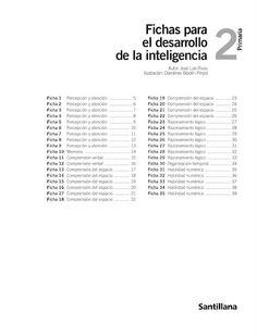 Fichas para el desarrollo de la inteligencia 2. Santillana.