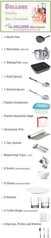 Bare Essentials - Kitchen Tools for the College Student, a College Nutritionist original!