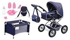 Bayer Design 1505115 - Puppenwagen Grande Set mit Bett und Zubehör für Puppen, 46 cm, blau