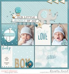 Grow Through Life - Baby Boy & Girl Mega Bundle & *FWP* by Kristin Cronin-Barrow. - Grow Through Life – Baby Boy & Girl Mega Bundle & *FWP* by Kristin Cronin-Barrow & Digital Scrapb - Baby Boy Scrapbook, Scrapbook Bebe, Pregnancy Scrapbook, Album Scrapbook, Baby Scrapbook Pages, Project Life Scrapbook, Scrapbook Designs, Project Life Layouts, Digital Scrapbooking Layouts