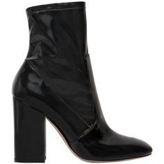 Valentino Women 100mm Stretch Faux Patent Leather Boots (3.090 BRL) ❤ liked on Polyvore featuring shoes, boots, black, valentino shoes, faux patent leather boots, stretchy shoes, stretch shoes and side zip boots