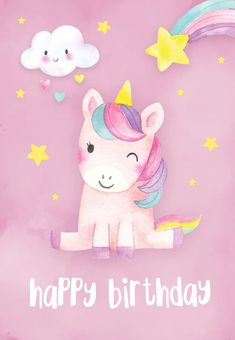 Happiest Unicorn – Birthday Card (free Happiest Unicorn – Birthday card you can print or send as eCard. Personalize with your own message, photos and stickers. Choose from hundreds of designs! - My DIY Birthday Blo Happy Birthday Cards Images, Free Printable Birthday Cards, Birthday Card Messages, Unicorn Birthday Cards, Birthday Wishes For Kids, Happy Birthday Girls, Birthday Card Template, Happy Birthday Pictures, Happy Birthday Quotes