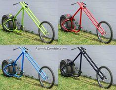 Atomic Zombie OverKill chopper is sick! Mini Chopper, Chopper Motorcycle, Custom Motorcycles, Custom Bikes, Vw Beach, Velo Retro, Lowrider Bicycle, Diy Go Kart, Cruiser Bicycle