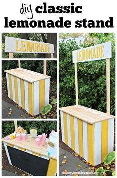 diy classic lemonade stand with chalkboard sign